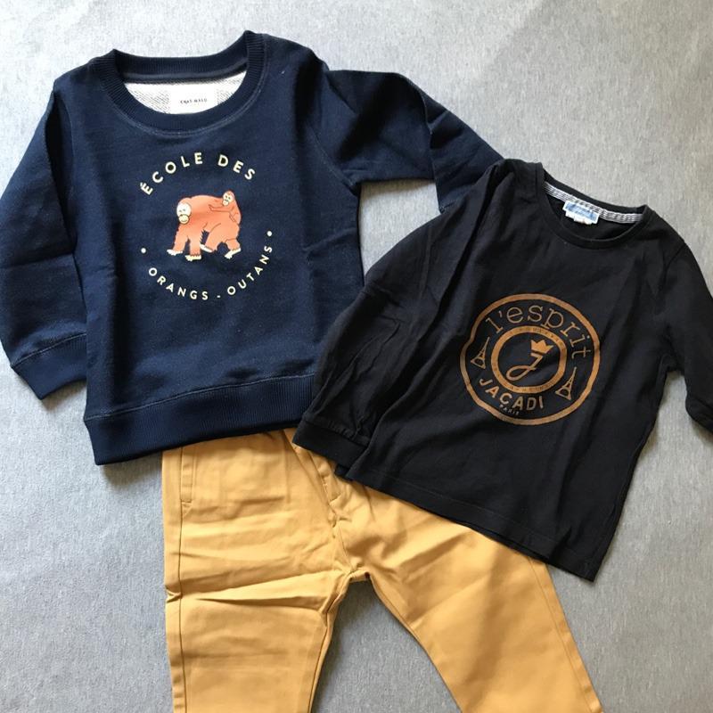 La rentrée de Gustave: Le sweat neuf Chat-Malo, le chino neuf La Petite Collection & le t-shirt de 2nde main