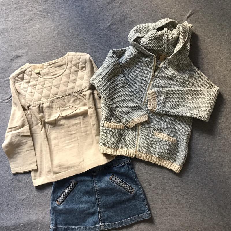 Le look casual de Mathilde : La blouse et le gilet 100% coton neufs La Petite Collection et la jupe de 2nde main en jeans