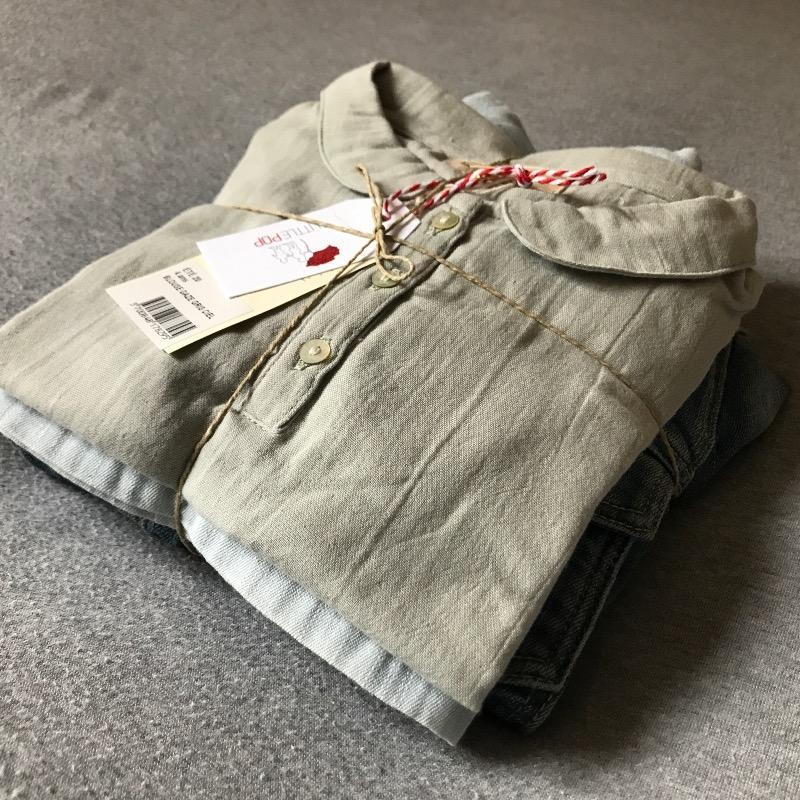 La jupe et la veste denim seconde main et la blouse neuve La Petite Collection