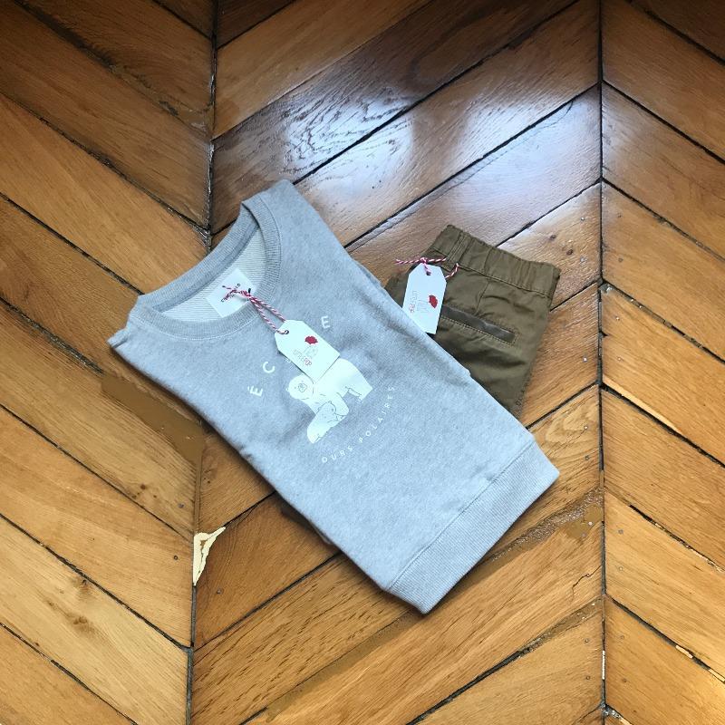 Le casual et ses petits détails : le sweat neuf Chat Malo et le pantalon de seconde main