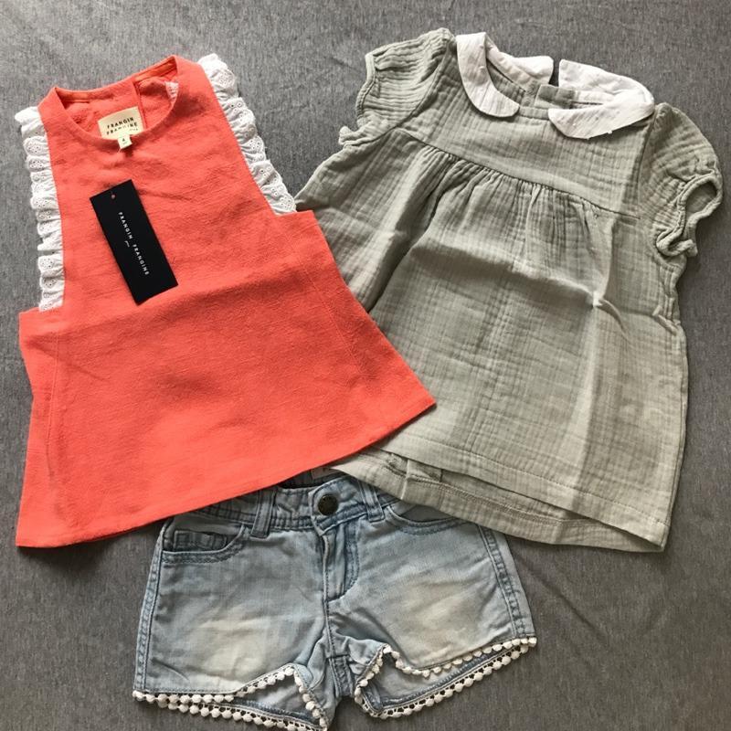 Le look d'été de Chloé : Le top tablier neuf Frangin Frangine, la blouse neuve Frangin Frangine & le short de 2nde main