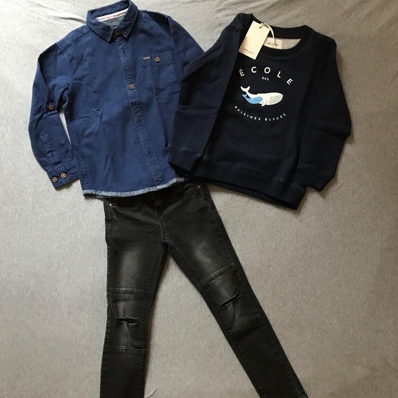 Le look d'Andréa : La chemise et le jeans de seconde main et le sweat neuf Chat-Malo